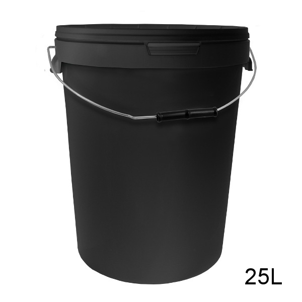 Round Black Bucket with Metal Handle and Lid