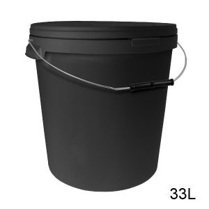 Round Black Bucket with Metal Handle and Lid-5116
